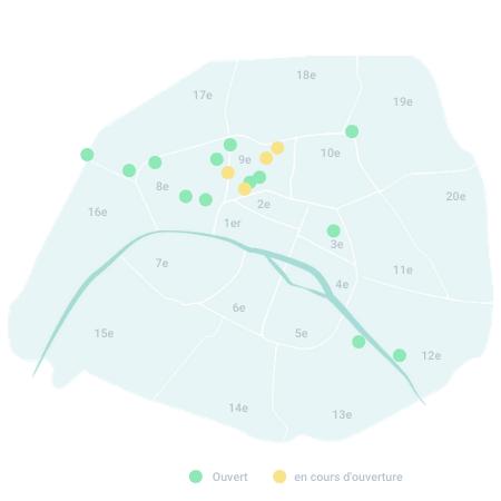 Carte des espaces We Work