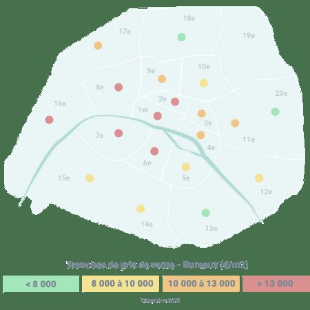 Carte tranche de prix bureaux achat Paris