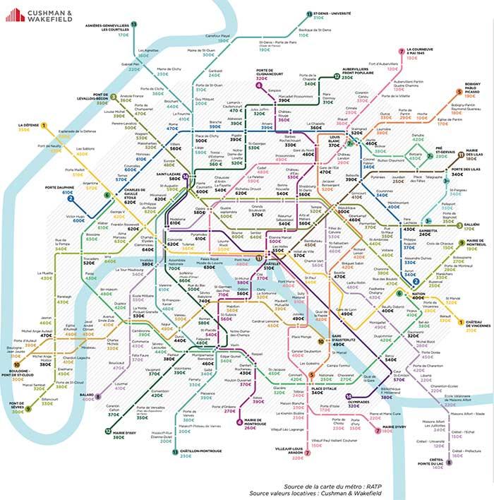 Loyer moyen d'un bureau par station de metro